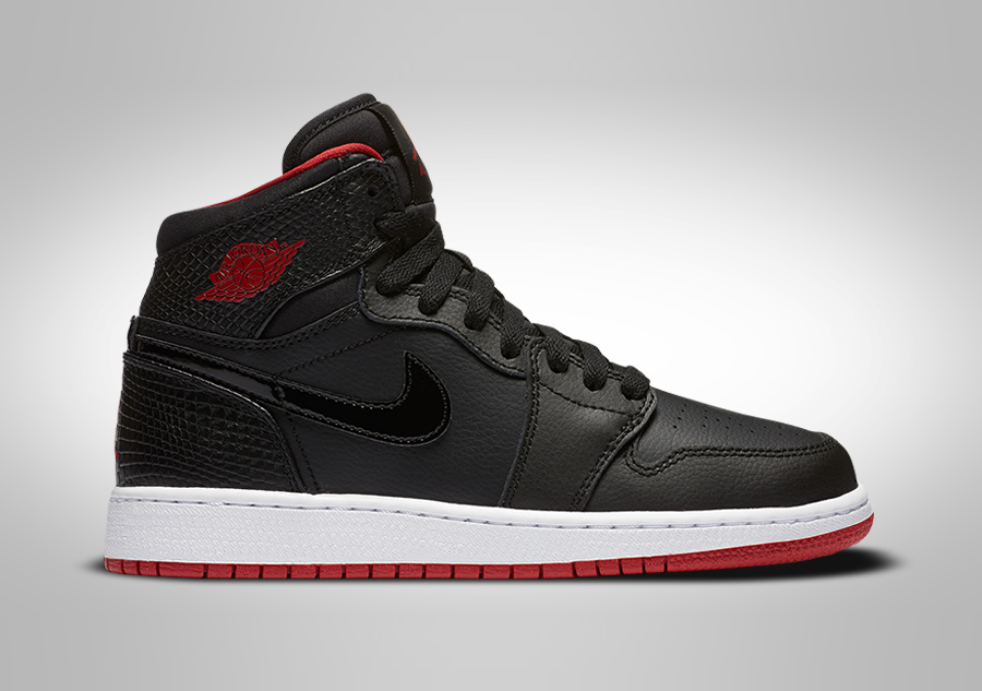 newest 1e615 9979c NIKE AIR JORDAN 1 RETRO HIGHT BG BLACK RED-WHITE pour €89,00    Basketzone.net