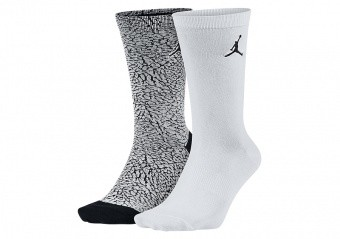 NIKE AIR JORDAN ELEPHANT CREW SOCKS WHITE BLACK