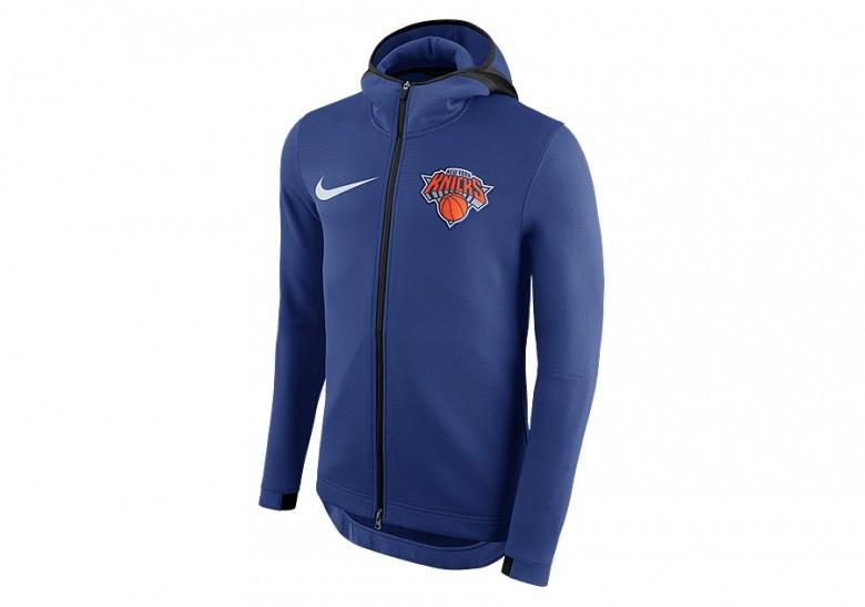NIKE NBA NEW YORK KNICKS THERMAFLEX SHOWTIME HOODIE RUSH BLUE