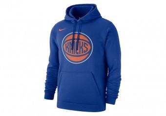 NIKE NBA NEW YORK KNICKS CLUB LOGO FLEECE PULLOVER HOODIE RUSH BLUE