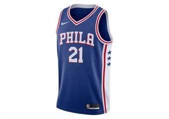 NIKE NBA PHILADELPHIA 76ERS JOEL EMBIID SWINGMAN ROAD JERSEY RUSH BLUE