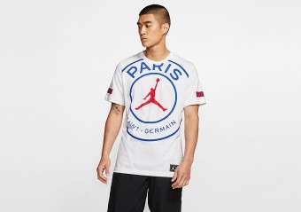 NIKE AIR JORDAN PSG PARIS SAINT-GERMAIN LOGO TEE WHITE