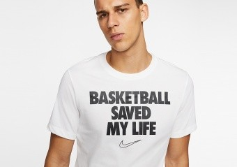 NIKE 'BASKETBALL SAVED MY LIFE' DRI-FIT TEE WHITE
