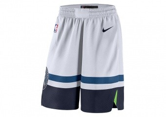 NIKE NBA MINNESOTA TIMBERWOLVES SWINGMAN HOME SHORTS WHITE