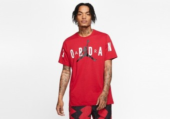 NIKE AIR JORDAN BRAND STRETCH CREW TEE GYM RED