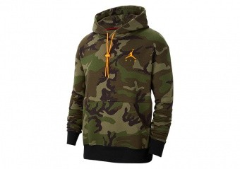 NIKE AIR JORDAN JUMPMAN AIR CAMO FLEECE PULLOVER HOODIE MEDIUM OLIVE