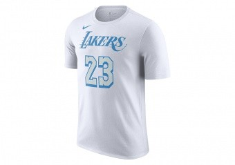 NIKE NBA LOS ANGELES LAKERS LEBRON JAMES CITY EDITION TEE WHITE